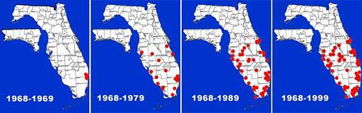 Florida distribution map for the walking catfish: range expansion