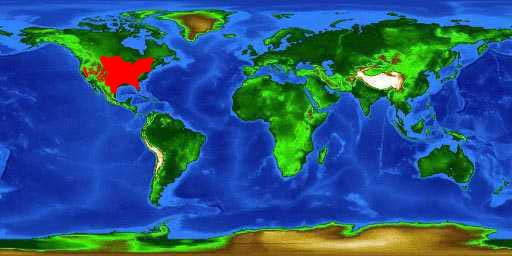 World distribution map for the channel catfish