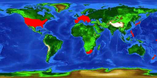 World distribution map for the largemouth bass (including introductions)