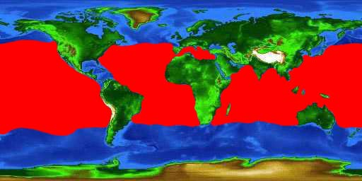 World distribution map for the oarfish