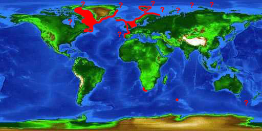 World distribution map for the Greenland shark