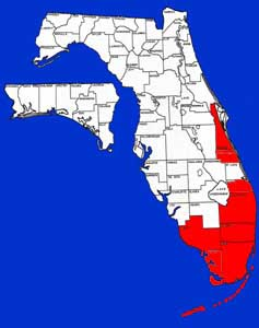Florida distribution map for the spotted tilapia since its introduction in the early 1970s