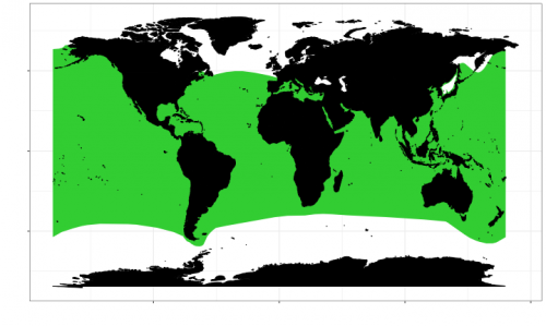 World distribution of the white shark. Map © Chondrichthyan Tree of Life