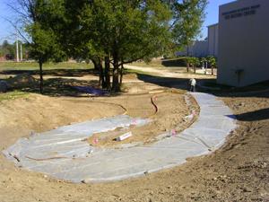 cement sidewalk under construction