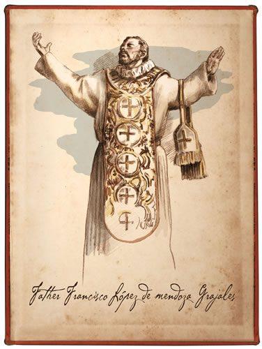 Artist's depiction of Father Francisco Sebastian López y Grajales. Drawing by Bill Celander