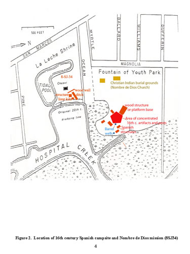 Archaeological map showing major 16th century features at the Fountain of Youth Park site and the Nuestra Señora de la Leche Shrine site