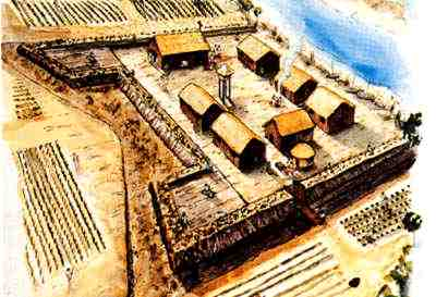 Artist drawing of Fort Mose