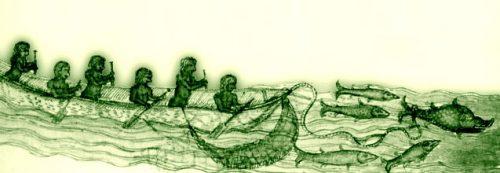 Taínos travelling in a canoe. From Gonzalo Fernández de Oviedo y Valdés, La historica general de las Indias, Seville, Cromberger, 1535