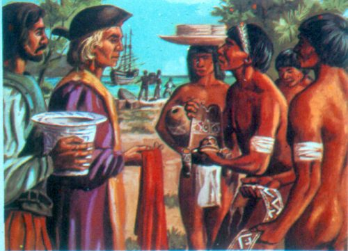 Artists rendering of Columbus meeting Guacanagarí. Courtesy of the Fundación García Arévalo, Santo Domingo