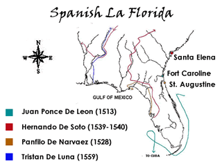 Map of previous explorers' routes and settlements in Florida