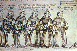 Mural of six Franciscans