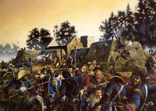 Painting of the battle of Ft. Mose by Jackson Walker