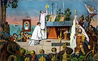 Postcard of the first Mass