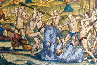 Attack on Spanish friars by Indians