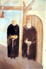 Wall mural painting of Franciscian friars