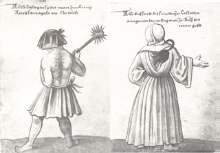Drawing of Penitents from Der Trachtenbuch by Christopher Weiditz