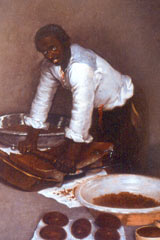 "Painting titled ""Moor grinding chocolate"""
