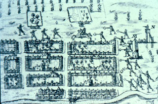 Map of St. Augustine drawn by Baptiste Boazio in 1586
