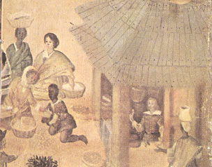 Detail from a painting of a market scene in Mexico City