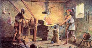 Illustration of a blacksmith shop