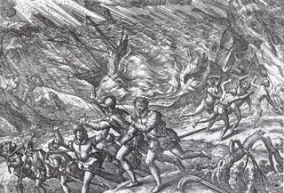 Engraving of a hurricane by Theodore de Bry