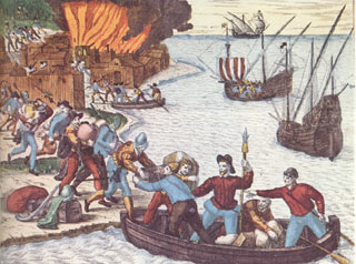Engraving of pirates by Theodore de Bry