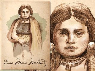 Artist's rendering of Doña María Meléndez