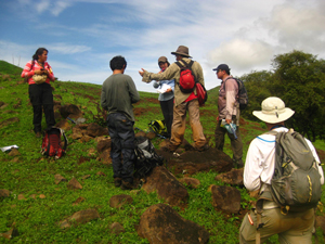 Our group of geologists embarked on a quest to find bedrock exposures in the countryside of rural Panama. Led by Camilo Montes, University of Colombia Bogota. Photo courtesy of Gina Roberti.