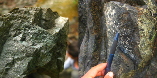 Left: Tiny sparkling grains of a blue-green metamorphic mineral (most likely epidote) that forms when volcanic basalts are hydrothermally altered. Notice the thin orange layer (perhaps microbial) on the surface, which shows weathering or breakdown of the rock ('meteorizado' in Spanish). Oftentimes it requires a rock hammer to break open the rock and see past this superficial rind. Photo courtesy of Gina Roberti. Right: Striations reveal deformation (slip) along a fault plane. When analyzing structural features, these were important clues about the type of deformation (a crack versus displacement), including the direction of slip. As field geologists, we would take note of these features and other aspects about the rock, synthesizing and discussing the information in teams later in the day. Photo courtesy of Gina Roberti.