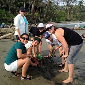 Summer 2015 field intern Gina Roberti and teachers Sandy Hankins, Mayra Cordero, Sallie Corbin, Erin Petersen and Elizabeth Burt collect fossils at the Piña locality on the Caribbean side of Panama. Photo courtesy of Claudia Grant.
