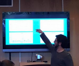 Jeremy presenting his research at a PCP PIRE huddle. Photo courtesy of Claudia Grant.