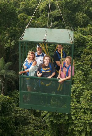From front to back, left to right: Paris Morgan, Carolyn Thornton, Aly Tucker, Roger Portell, and Chris Nelson riding in the canopy crane gondola above a Panamanian forest. Photo courtesy of Edwin Andrades.