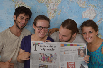 Spring 2015 interns Jeremy Dunham, Sophie Westacott, Adam Bouché, and Sonia Sanchez (left to right) share the front-page story on their fieldwork in the Panamanian newspaper La Prensa. Photo courtesy of Jorge Moreno Bernal.