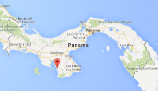 Map of Panama with Torio on the Azuero Peninsula marked in red. © Map from Google Maps.