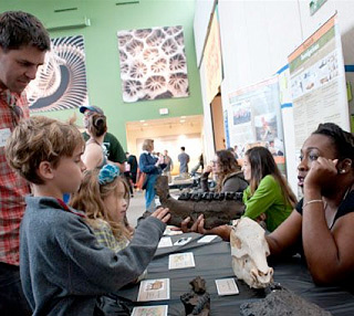"""Mike Amish and his children Ava, 6, and Zander, 8, explore the paleontology table in the Central Gallery during opening day festivities of the Museum's new exhibit, """"Titanoboa: Monster Snake."""" © Florida Museum photo by Kristen Grace."""