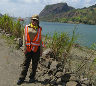 Julia Tejada at the Panama Canal area. © Photo by Meagan Collins.