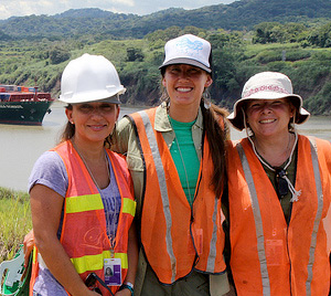 Left to Right: Claudia Grant, Laura Beach, Jill Madden at the Panama Canal. © Photo by Charles O'Connor.
