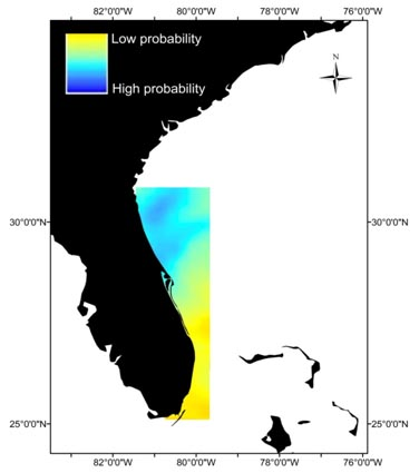 Spatial Factors in Shark Attacks probability map