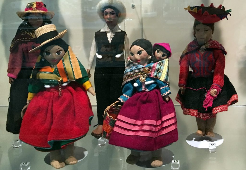 Dolls in exhibit case