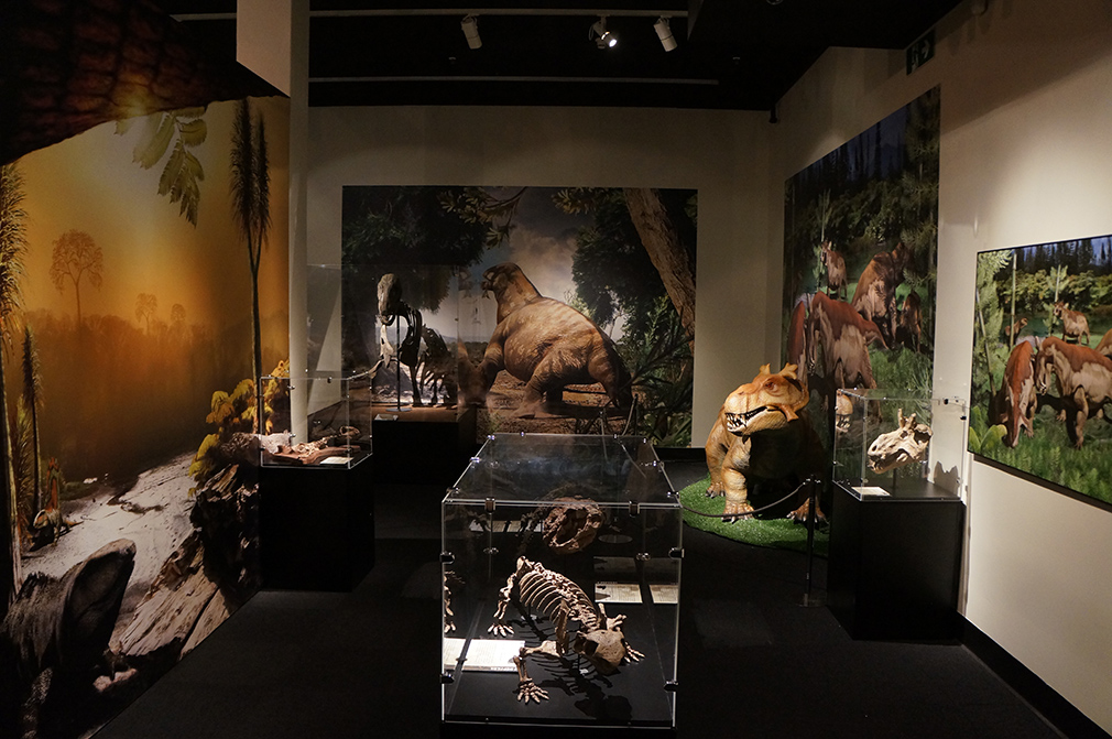 """A dozen illustrations from award-winning paleo-artist Julius Csotonyi bring the Permian Period to life in the """"Permian Monsters: Life Before the Dinosaurs"""" exhibit, on display at the Florida Museum in Gainesville Sept. 29, 2018-May 5, 2019. ©Photo courtesy of Gondwana Studios"""