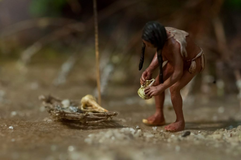 close up of diorama showing a person collecting shells