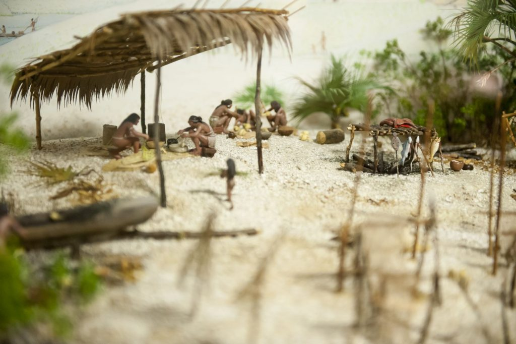 diorama showing food prep and cooking area