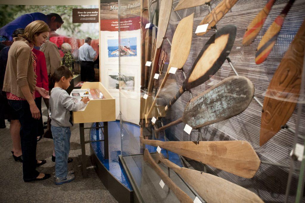 paddle display and visitors drawing at station