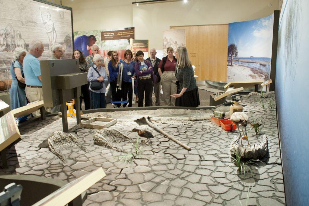 researcher explaining exhibit diorama to visitors