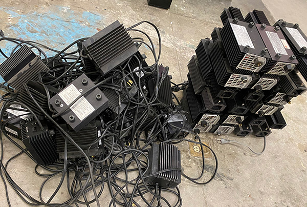 a pile of old electrical equipment