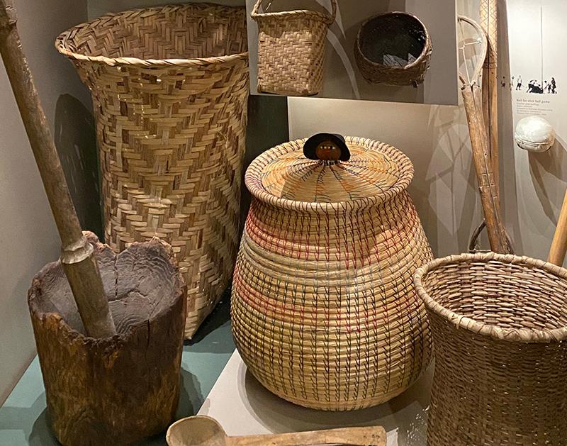museum exhibit display of basketry
