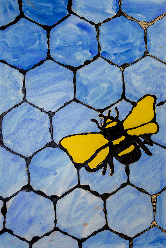 Painting of yellow and black bee against blue honeycomb.
