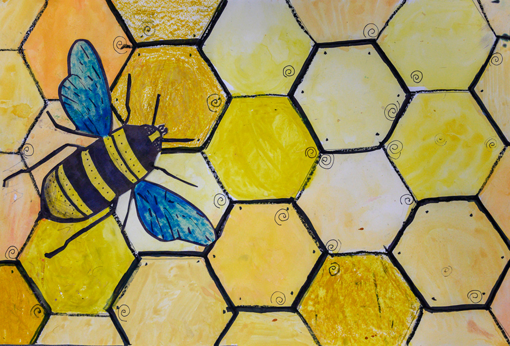 Painting of yellow and black bee with blue wings on yellow honeycomb.