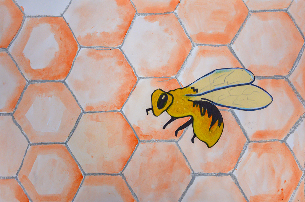 Painting of yellow and black on pale orange honeycomb.