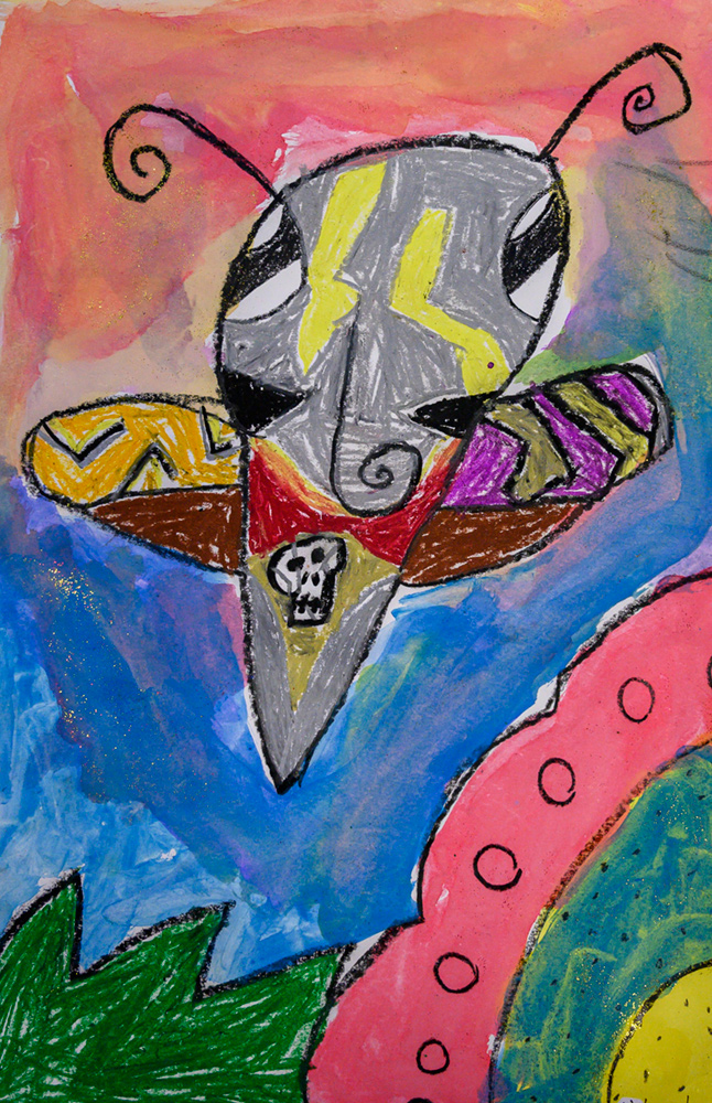 Painting of a flying Moth with distinctive markings.